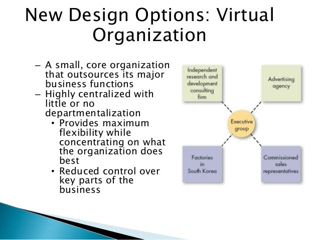 conventional organization virtual organisation The trend of isolated outsourcing of non-core activities in the early nineties  culminated in the transformation of traditional organizational structures into new, .