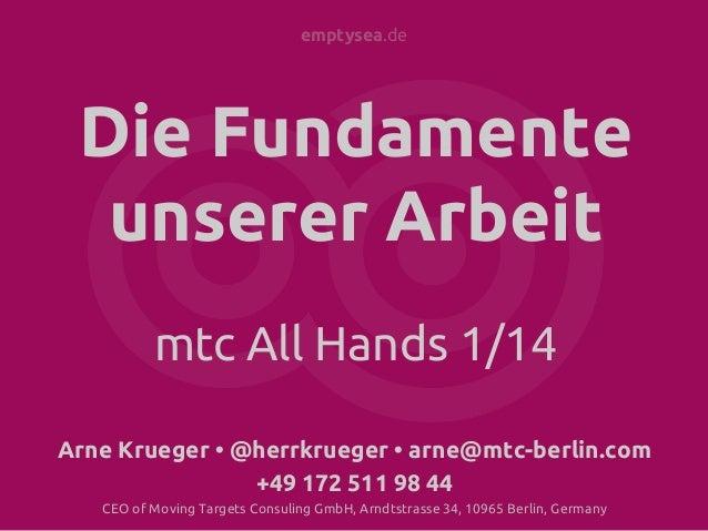 emptysea.de  Die Fundamente unserer Arbeit mtc All Hands 1/14 Arne Krueger • @herrkrueger • arne@mtc-berlin.com +49 172 51...