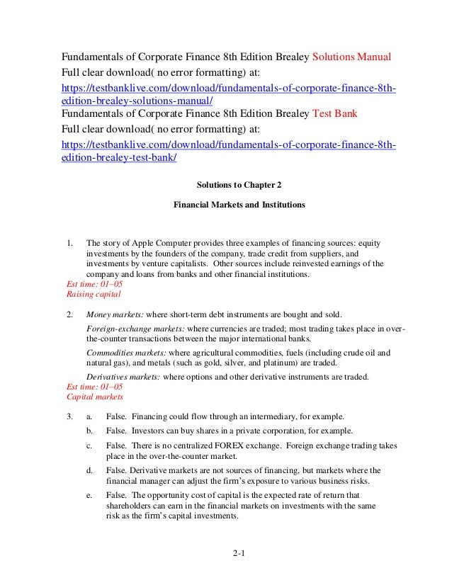 fundamentals of corporate finance 8th edition brealey solutions manual rh slideshare net McGraw-Hill Logo McGraw-Hill Education