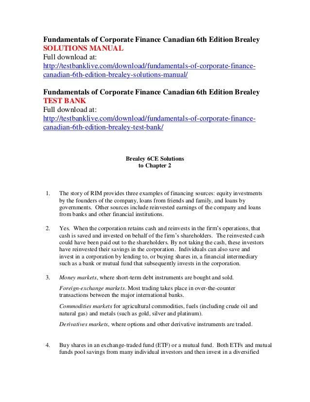 fundamentals of corporate finance canadian 6th edition brealey soluti rh slideshare net tsx-v corporate finance manual tsx venture exchange corporate finance manual