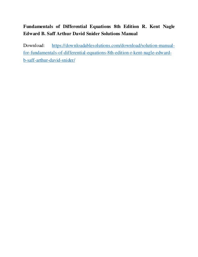 fundamentals of differential equations solutions manual 8th edition