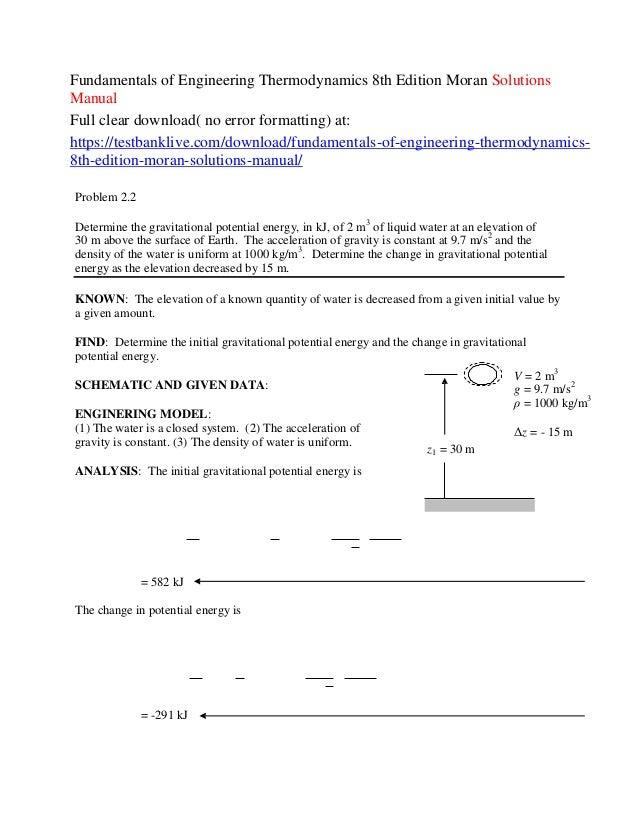 fundamentals of engineering thermodynamics 8th edition moran solution rh slideshare net statistical thermodynamics fundamentals and applications solution manual Test Bank Solutions Manual