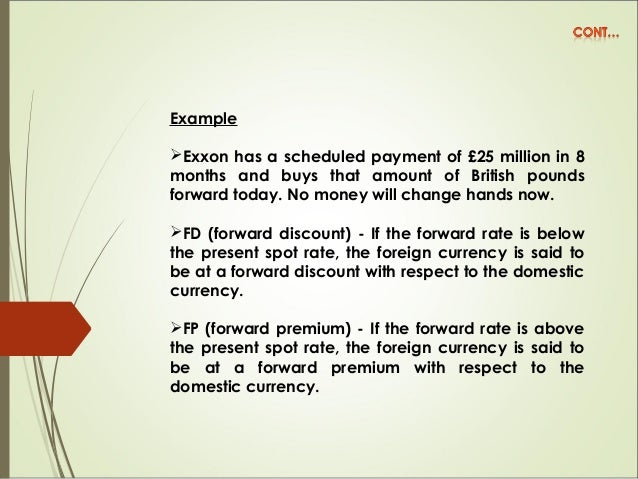 Example Exxon has a scheduled payment of £25 million in 8 months and buys that amount of British pounds forward today. No...