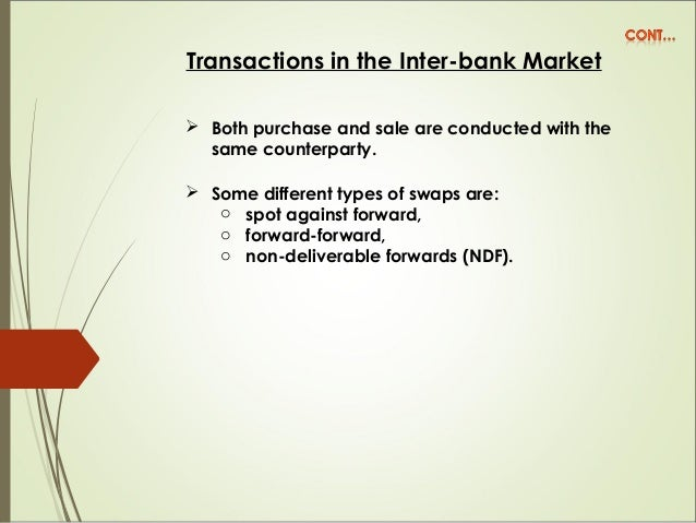 Transactions in the Inter-bank Market  Both purchase and sale are conducted with the same counterparty.  Some different ...
