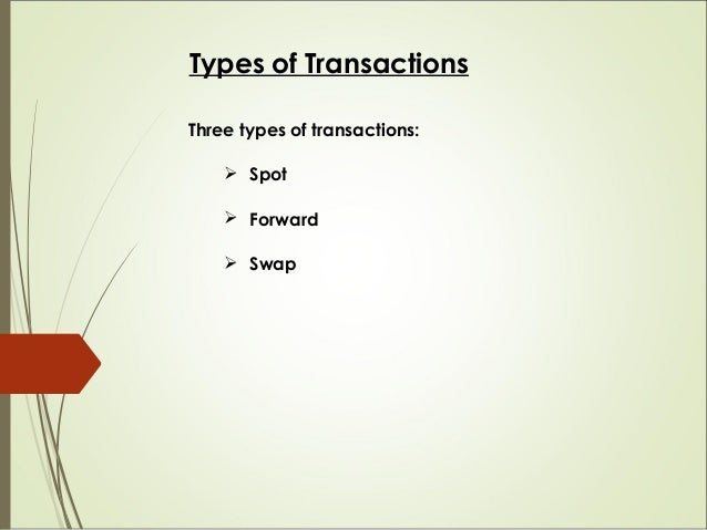 Types of Transactions Three types of transactions:  Spot  Forward  Swap