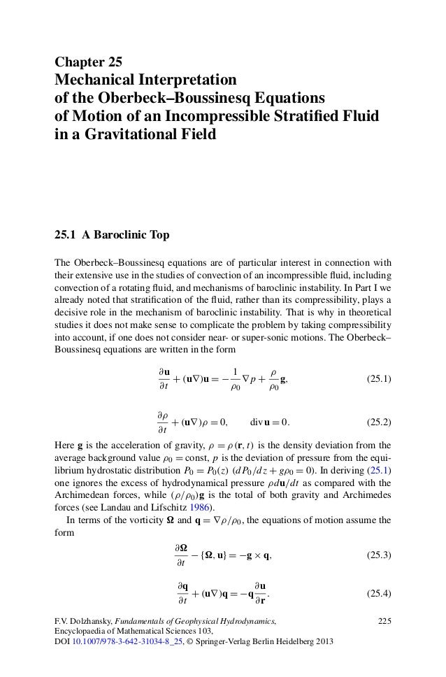 Chapter 25Mechanical Interpretationof the Oberbeck–Boussinesq Equationsof Motion of an Incompressible Stratified Fluidin a ...