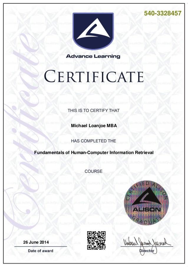 540-3328457 Michael Loanjoe MBA Fundamentals of Human-Computer Information Retrieval 26 June 2014