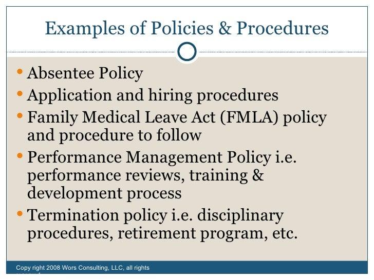 examples of policies procedures