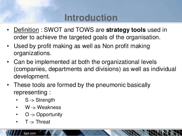 swot and tows analysis of philippine corporations Swot and tows analysis of philippine corporations 33 swot analysis 34 bcg matrix:  internal analysis getting the most out of swot and tows the swot entrepreneurs.