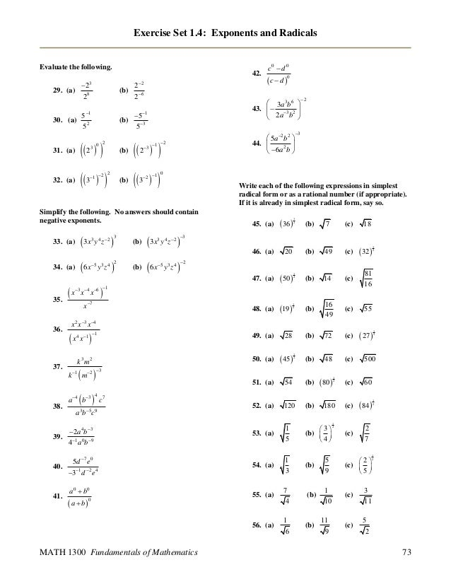 rational exponents and radicals worksheet form g breadandhearth. Black Bedroom Furniture Sets. Home Design Ideas