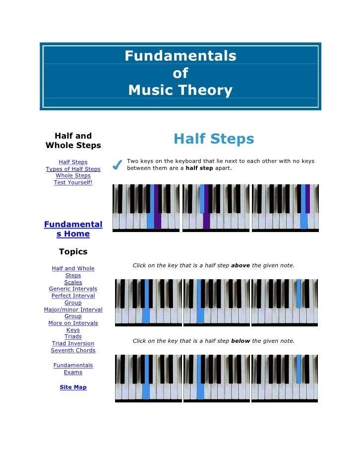 FundamentalsofMusic TheoryHalf and Whole StepsHalf StepsTypes of Half StepsWhole StepsTest Yourself! Fundamentals HomeTopi...