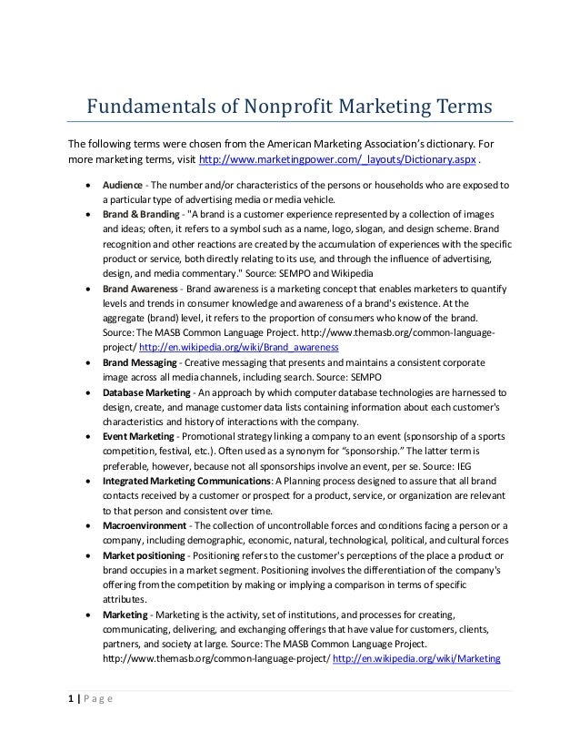 Fundamentals of Nonprofit Marketing TermsThe following terms were chosen from the American Marketing Association's diction...