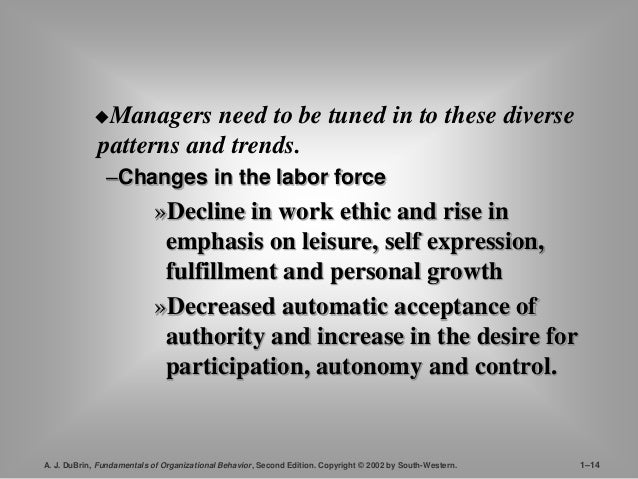 Managers need to be tuned in to these diverse  patterns and trends.  –Changes in the labor force  »Decline in work ethic ...