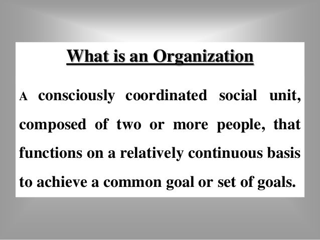 What is an Organization  A consciously coordinated social unit,  composed of two or more people, that  functions on a rela...