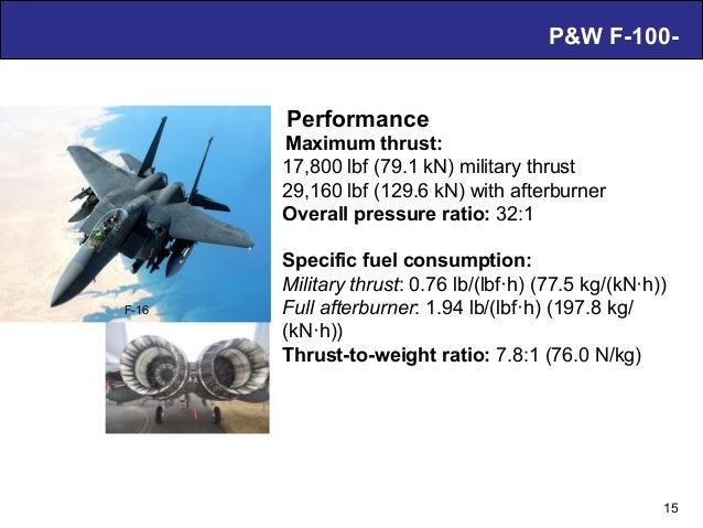 Air Breathing PDE Technology – D. Musielak P&W F-100- 15 Performance Maximum thrust: 17,800 lbf (79.1 kN) military thrust ...