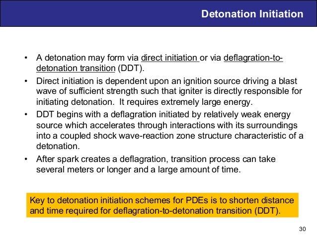 Detonation Initiation • A detonation may form via direct initiation or via deflagration-to- detonation transition (DDT). ...