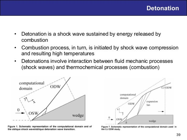 Detonation • Detonation is a shock wave sustained by energy released by combustion • Combustion process, in turn, is ini...