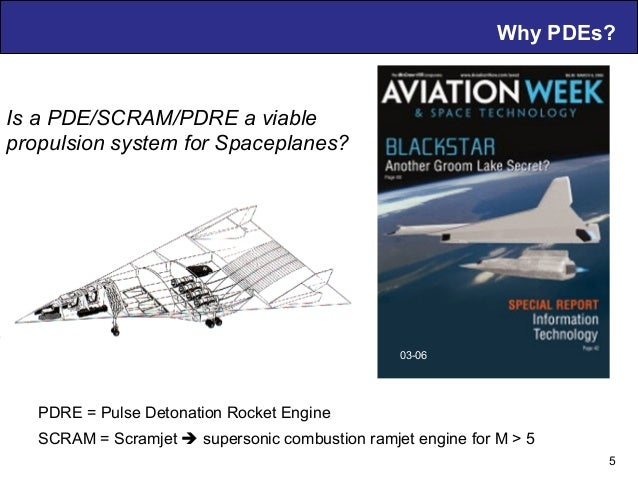 Why PDEs? 5 Is a PDE/SCRAM/PDRE a viable propulsion system for Spaceplanes? 03-06 PDRE = Pulse Detonation Rocket Engine SC...