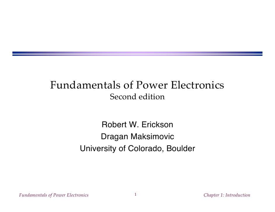 Fundamentals Of Power Electronics Presentation Slides 2nd Ed R E