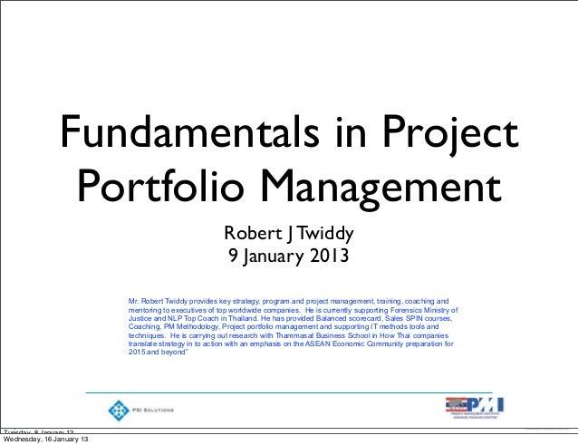 Fundamentals in Project                Portfolio Management                                                       Robert J...