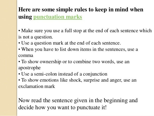 Fundamentals of punctuation marks