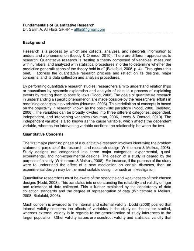 rigor and validity in quantitative research