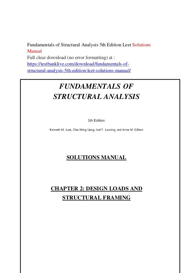 Fundamentals Of Structural Analysis 5th Edition Leet