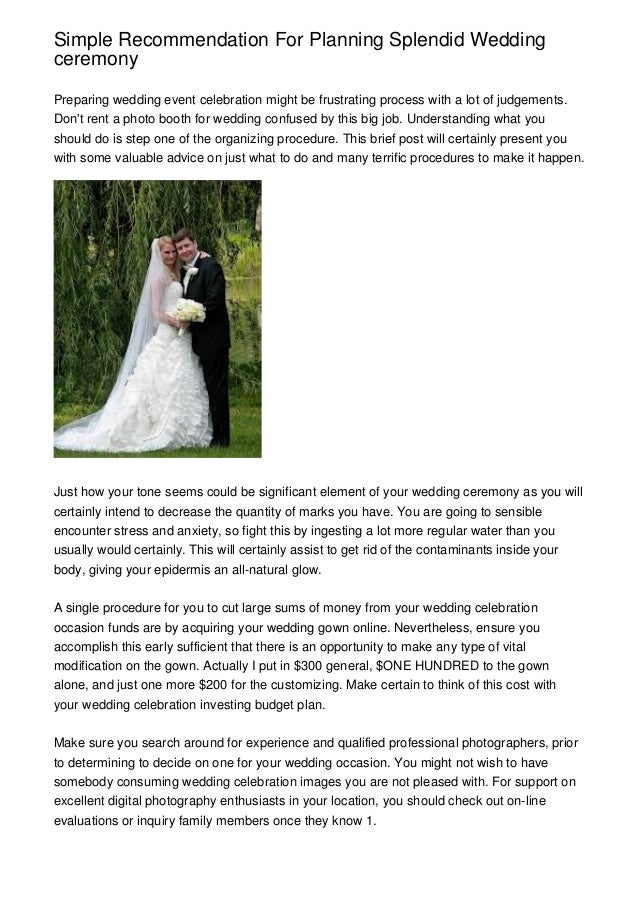 Simple Recommendation For Planning Splendid Wedding Ceremony