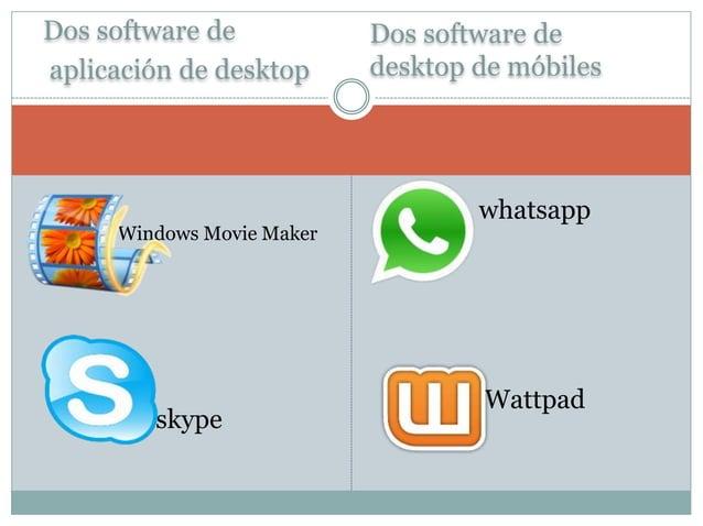 Dos software de  aplicación de desktop  Dos software de  desktop de móbiles   Windows Movie Maker   skype   whatsapp  ...