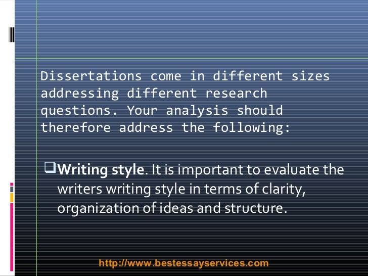 writing excellent dissertations As an academic writer, you are expected to provide an analytical overview of the significant literature published on your topic if your audience knows less than you do on the topic, your purpose is instructional if the audience knows more than you do, your purpose is to demonstrate familiarity, expertise, and intelligence with.