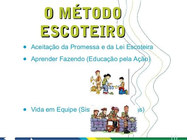 O MÉTODO      ESCOTEIRO•   Aceitação da Promessa e da Lei Escoteira•   Aprender Fazendo (Educação pela Ação)•   Vida em Eq...