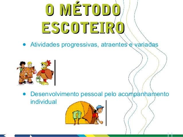 O MÉTODO       ESCOTEIRO•   Atividades progressivas, atraentes e variadas•   Desenvolvimento pessoal pelo acompanhamento  ...