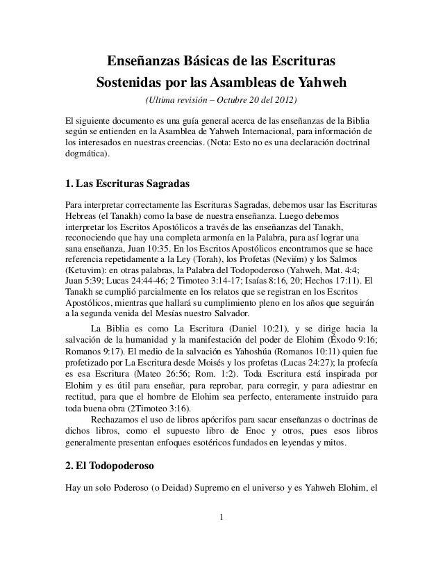 Enseñanzas Básicas de las Escrituras        Sostenidas por las Asambleas de Yahweh                     (Ultima revisión – ...