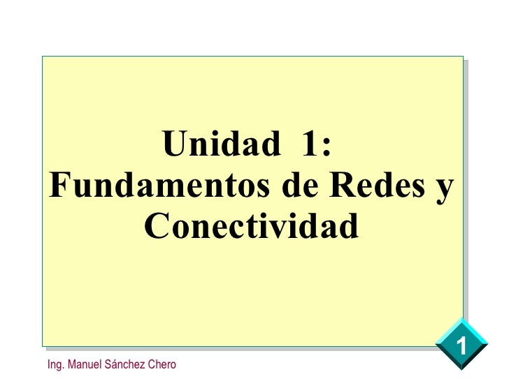 Unidad 1: Fundamentos de Redes y     Conectividad                               1 Ing. Manuel Sánchez Chero