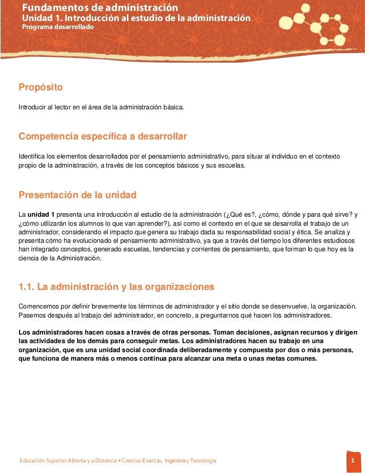 Fundamentos de administración Unidad 1. Introducción al estudio de la administración Programa desarrolladoPropósitoIntrodu...