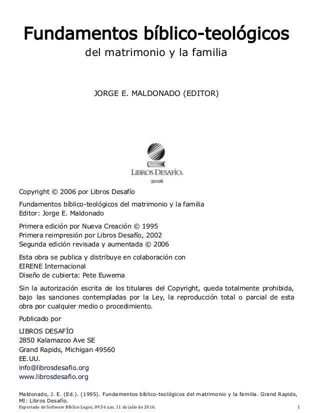 Fundamentos Bíblico Teológicos Del Matrimonio Y La Familia