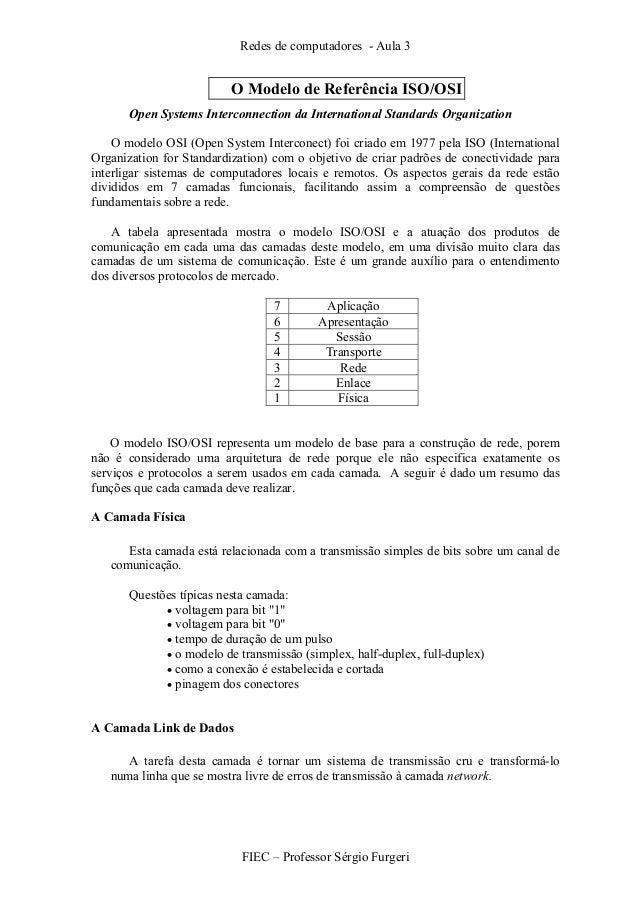 Redes de computadores - Aula 3 FIEC – Professor Sérgio Furgeri Open Systems Interconnection da International Standards Org...
