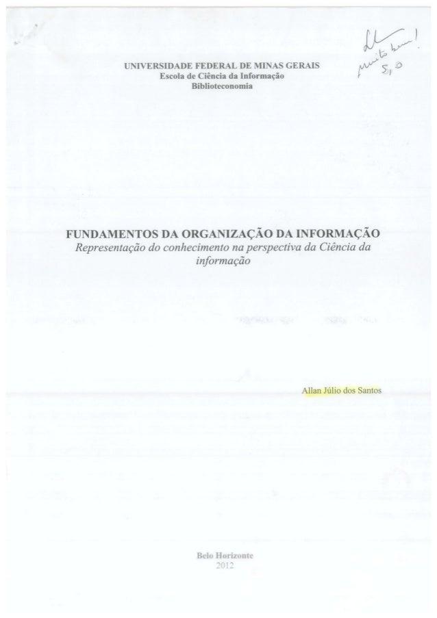 Fundamentos da organização da informação   allan júlio sobre lidia alvarenga
