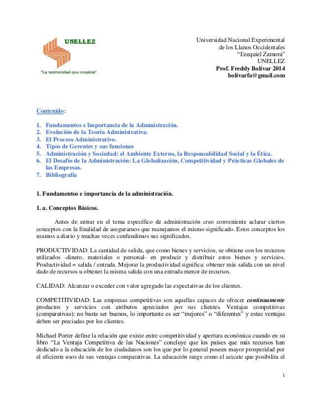 """Universidad Nacional Experimental  de los Llanos Occidentales  """"Ezequiel Zamora""""  UNELLEZ  Prof. Freddy Bolívar 2014  boli..."""