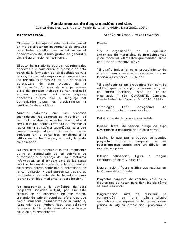 Fundamentos de diagramación: revistas Cumpa Gonzáles, Luis Alberto. Fondo Editorial, UNMSM, Lima 2002, 105 p PRESENTACIÓN:...