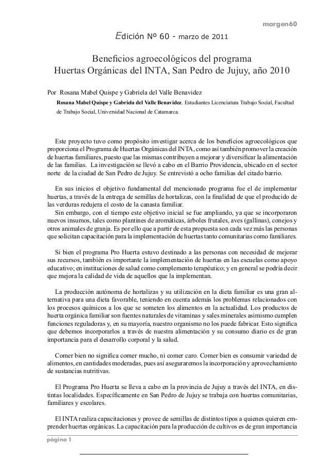 margen60 página 1 Edición Nº 60 - marzo de 2011 Beneficios agroecológicos del programa Huertas Orgánicas del INTA, San Ped...
