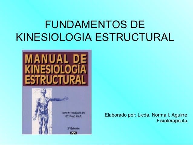 FUNDAMENTOS DE KINESIOLOGIA ESTRUCTURAL Elaborado por: Licda. Norma I. Aguirre Fisioterapeuta