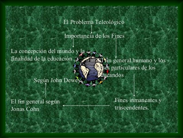 El Problema Teleológico                       Importancia de los FinesLa concepción del mundo y lafinalidad de la educació...