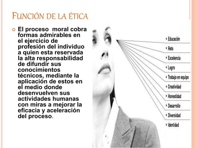 FUNCIÓN DE LA ÉTICA  El proceso moral cobra formas admirables en el ejercicio de profesión del individuo a quien esta res...