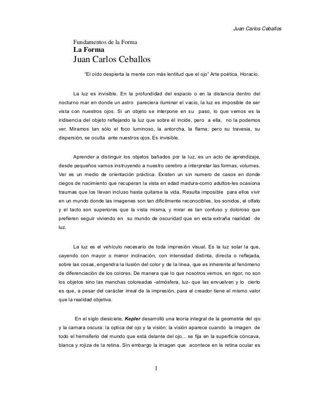 """Juan Carlos Ceballos Fundamentos de la Forma La Forma Juan Carlos Ceballos """"El oído despierta la mente con más lentitud qu..."""