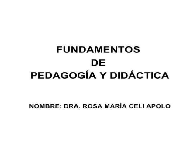Fundamentos dela pedagogia y didactia