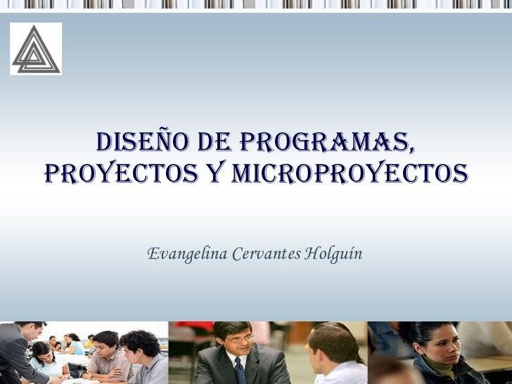 Diseño De Programas, Proyectos Y Microproyectos Evangelina Cervantes Holguín