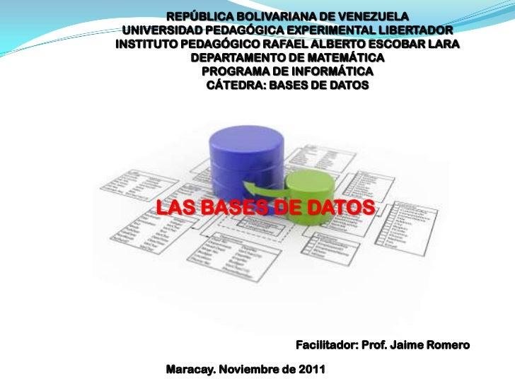 REPÚBLICA BOLIVARIANA DE VENEZUELA UNIVERSIDAD PEDAGÓGICA EXPERIMENTAL LIBERTADORINSTITUTO PEDAGÓGICO RAFAEL ALBERTO ESCOB...
