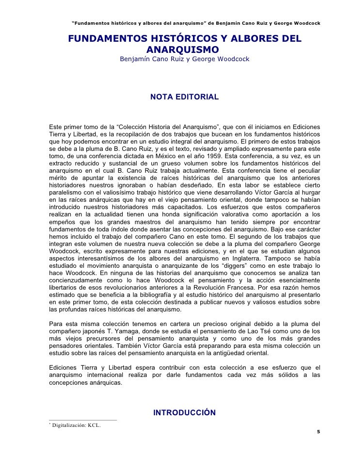 """""""Fundamentos históricos y albores del anarquismo"""" de Benjamín Cano Ruiz y George Woodcock             FUNDAMENTOS HISTÓRIC..."""