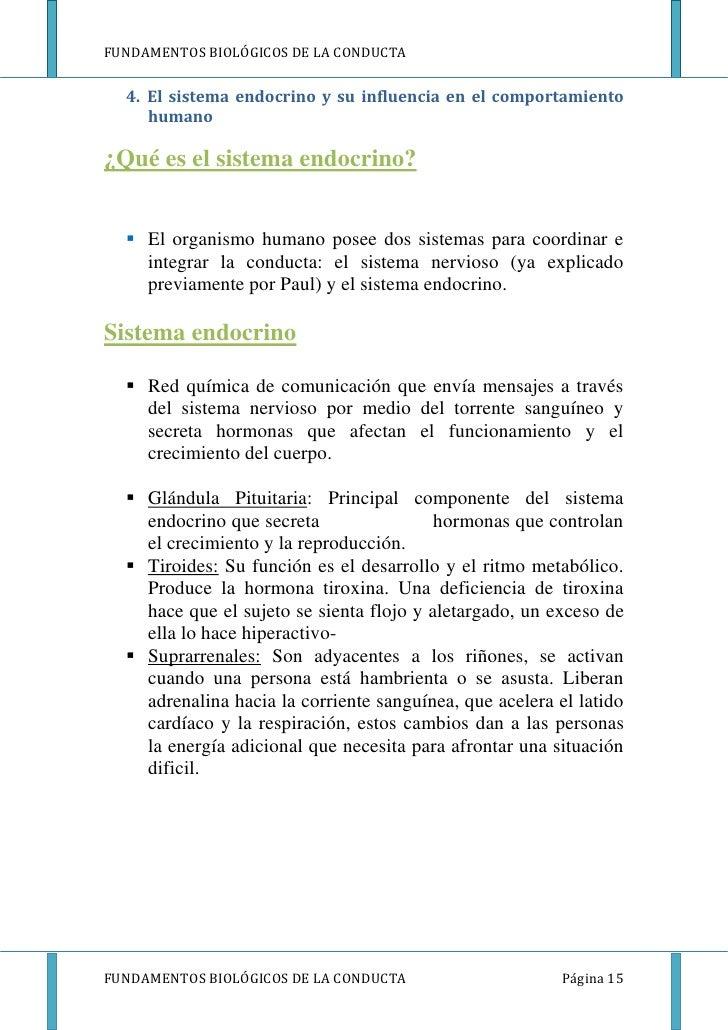 FUNDAMENTOS BIOLÓGICOS DE LA CONDUCTA  4. El sistema endocrino y su influencia en el comportamiento     humano¿Qué es el s...